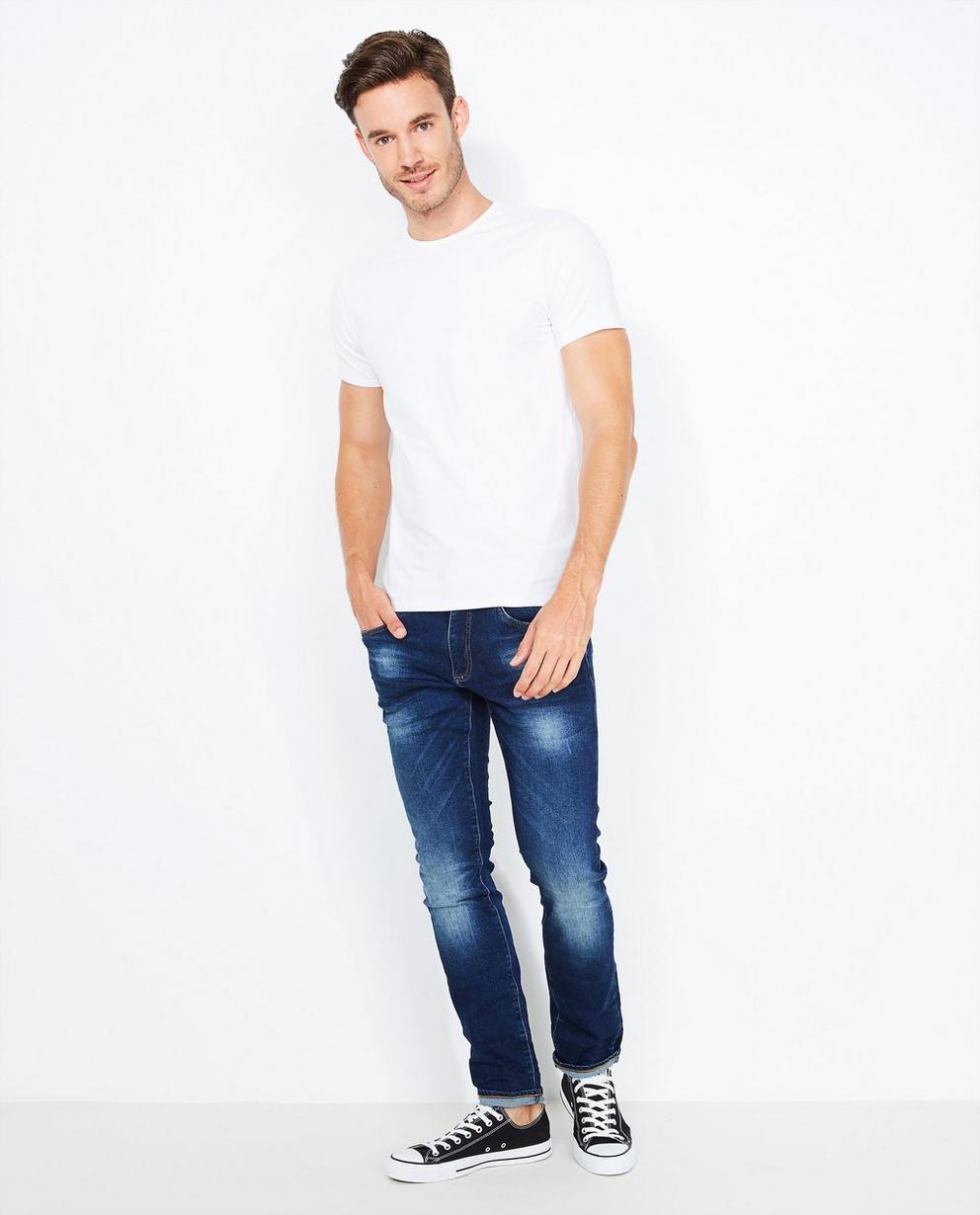 Jeans bleu foncé délavé - slim fit - Quarterback